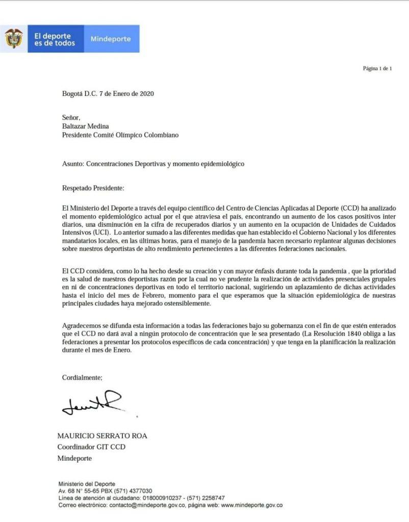 Comunicado da federação Colombiana
